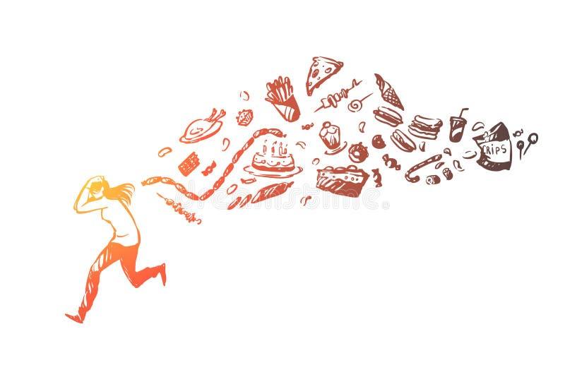 Meisje dat vanaf snel voedsel, ongezonde producten loopt die jonge vrouw, gezonde levensstijl, gewichtsverlies achtervolgt stock illustratie