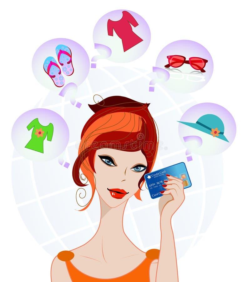 Meisje dat voor het winkelen benieuwd is royalty-vrije illustratie
