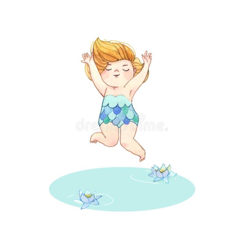 Meisje dat in Water springt Met de hand geschilderde waterverfillustratie stock illustratie