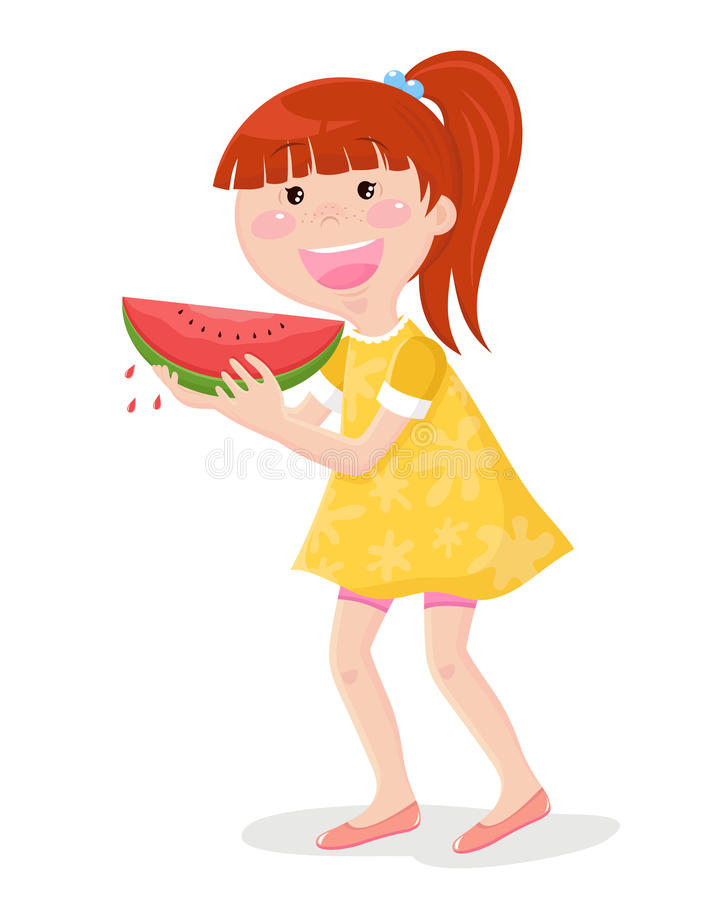 Meisje dat watermeloen eet stock illustratie