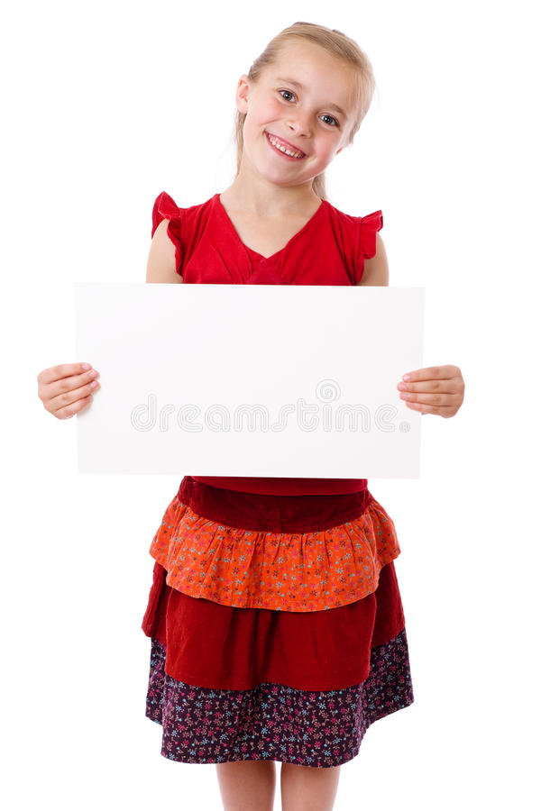 Meisje dat zich met lege spatie bevindt stock foto