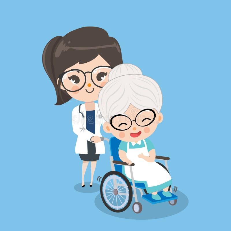 Meisje de arts behandelt oude vrouwenpati?nten met rolstoelen royalty-vrije illustratie