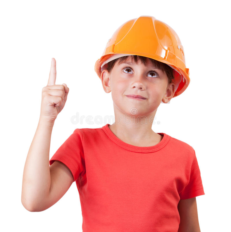 Meisje in de bouw van helm stock afbeelding
