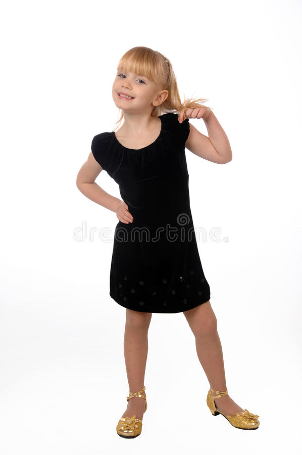 Meisje in de fotostudio royalty-vrije stock afbeelding