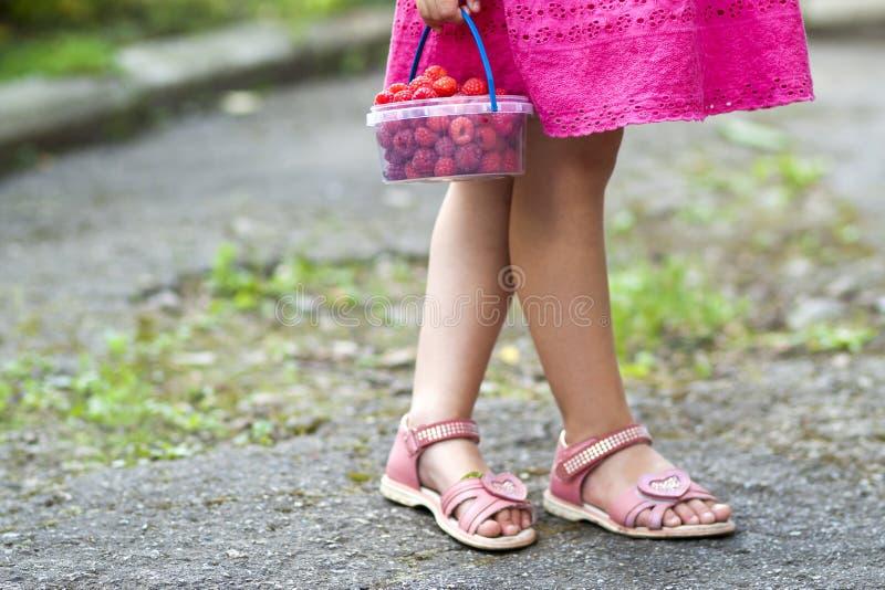 Meisje in de hand holdind kleine mand van het kledingskind rijpe ras stock afbeelding