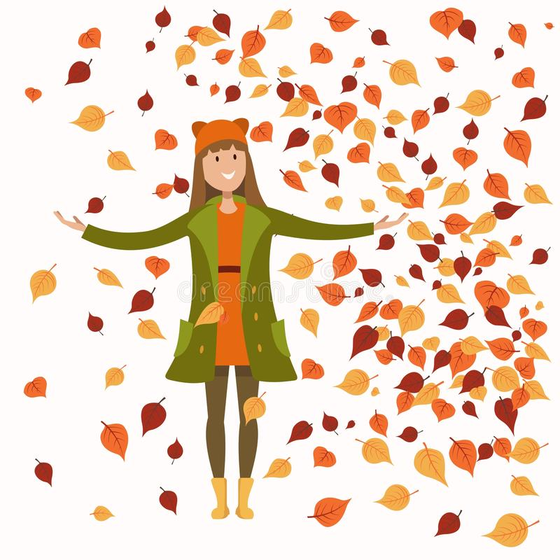 Meisje in de herfstkleren stock illustratie