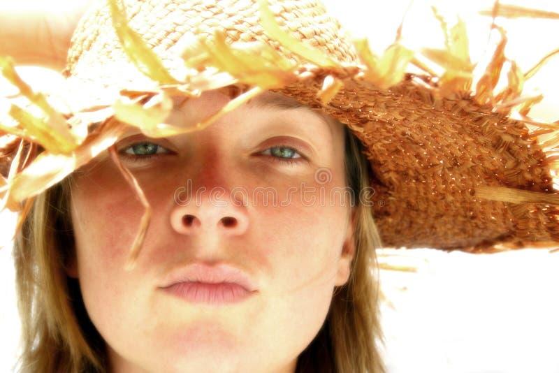 Meisje in de Hoed van het Stro stock afbeelding