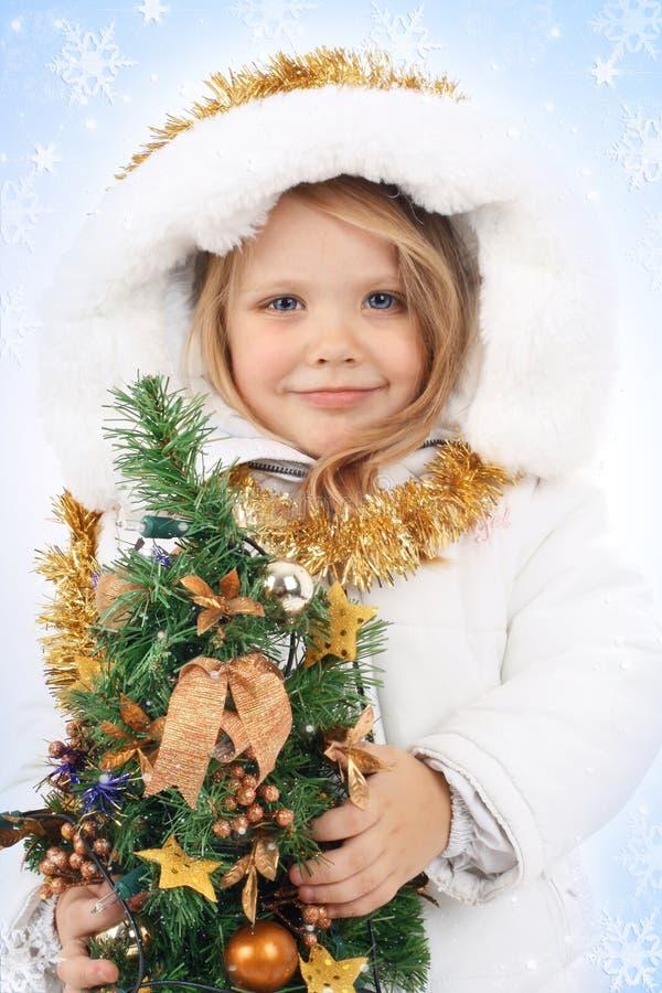 Meisje in de kleding van een Meisje van de Sneeuw royalty-vrije stock foto's