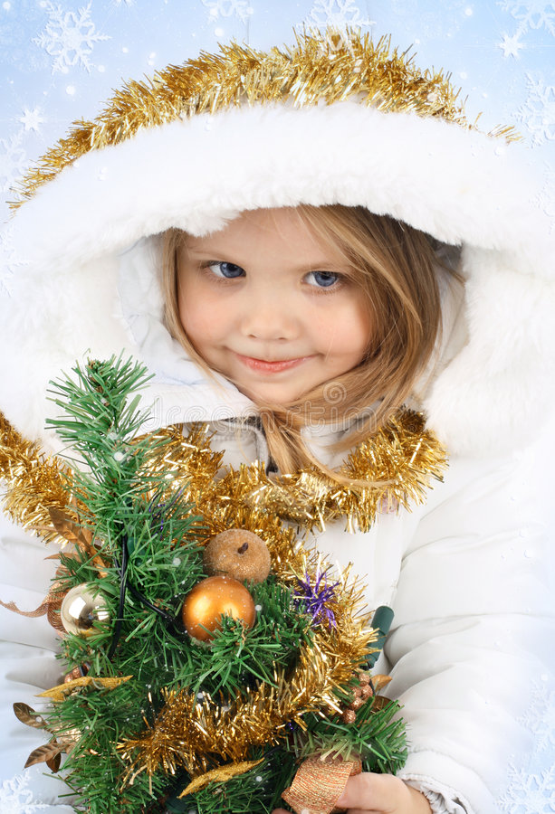 Meisje in de kleding van een Meisje van de Sneeuw royalty-vrije stock afbeeldingen