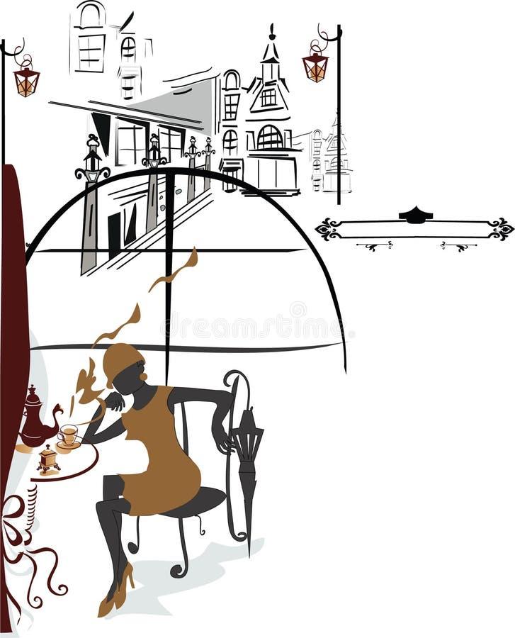 Meisje in de koffie stock illustratie