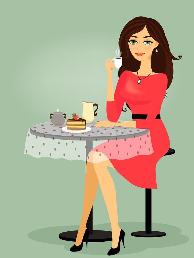 Meisje in de koffie, lege promo royalty-vrije illustratie