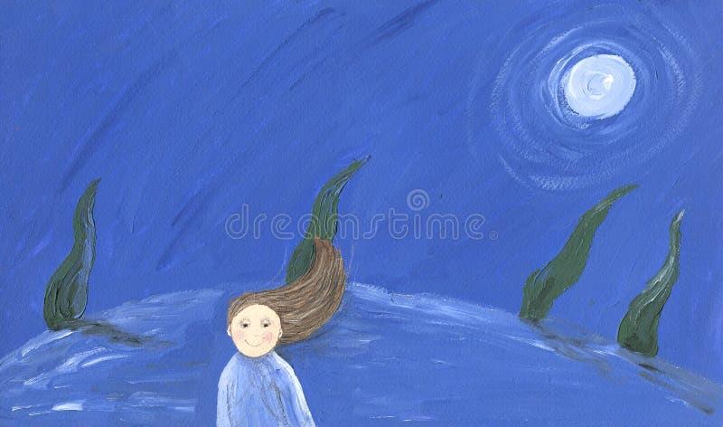 Meisje in de nacht stock illustratie