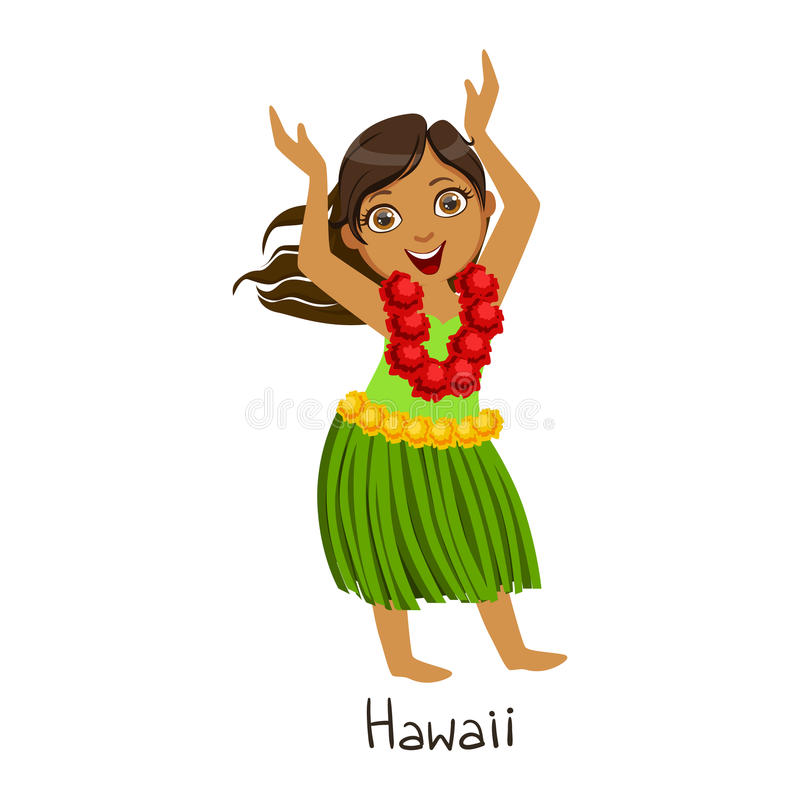 Meisje in de Nationale Kleren van het Land van Hawaï, die Bladrok en Halsbloem Garland Traditional For The Nation dragen royalty-vrije illustratie