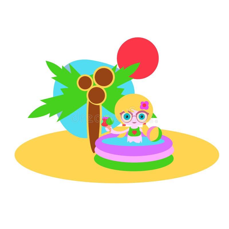 Meisje in de pool op het strand onder de palm royalty-vrije illustratie