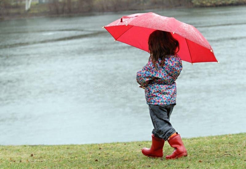 Meisje in de regen royalty-vrije stock afbeelding