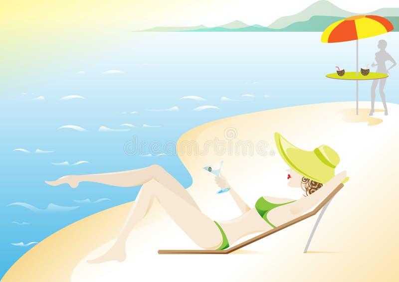Download Meisje, De Roeping Van De Zomer Op Het Strand Vector Illustratie - Afbeelding: 10690443