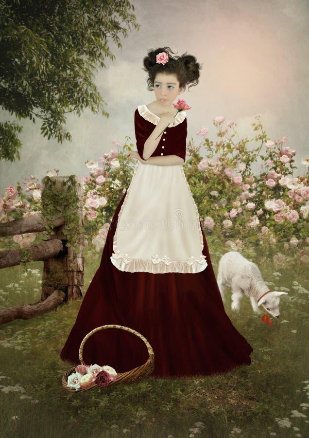 Meisje in de tuin met rozen stock afbeelding