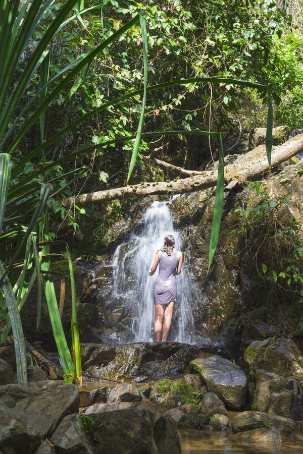 Meisje in de waterval stock foto's