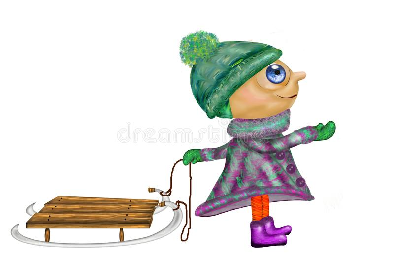 Meisje in de winterkleren met een slee royalty-vrije illustratie