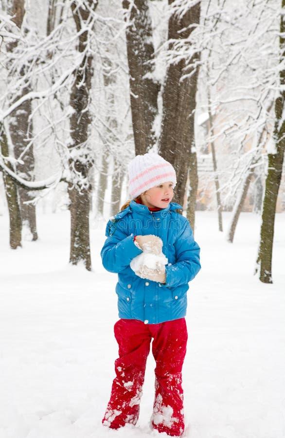 Meisje in de winterpark stock afbeelding