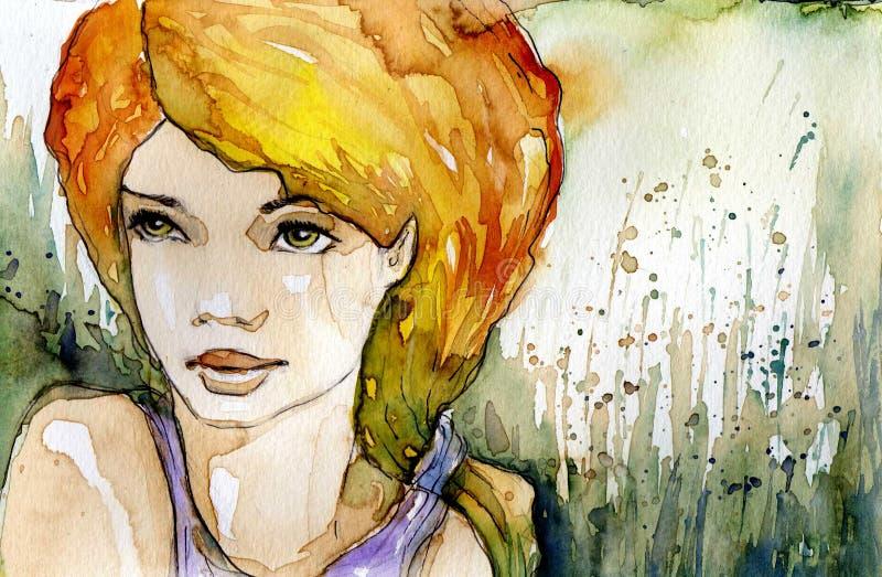 Meisje in de zomer. royalty-vrije illustratie