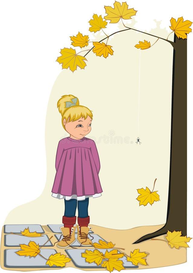 Meisje dichtbij de esdoornboom vector illustratie