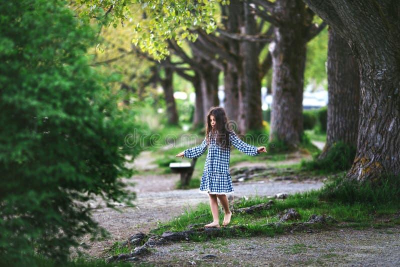 Meisje dichtbij de grote boom stock afbeeldingen