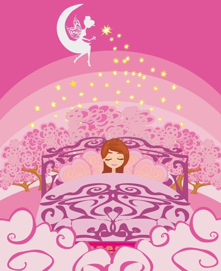 Meisje die in bed bij nacht dromen stock illustratie