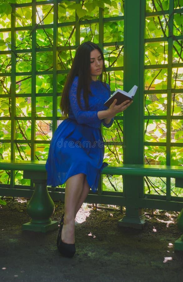 Meisje die in blauwe kleding een boek in gazebo lezen stock foto's