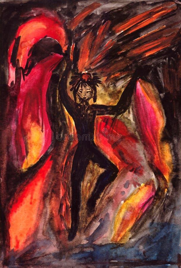 Meisje die in de brand dansen vector illustratie