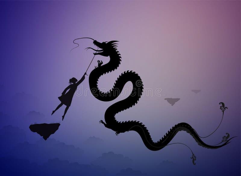 Meisje die de feedraak vangen en het op de draad, scène van fairytale in het dromenland houden, vector illustratie