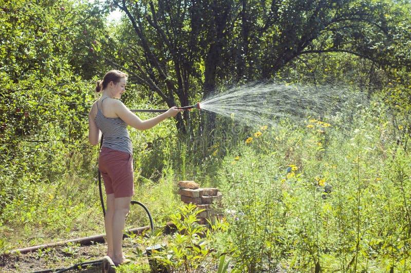 Meisje die de installaties water geven stock foto