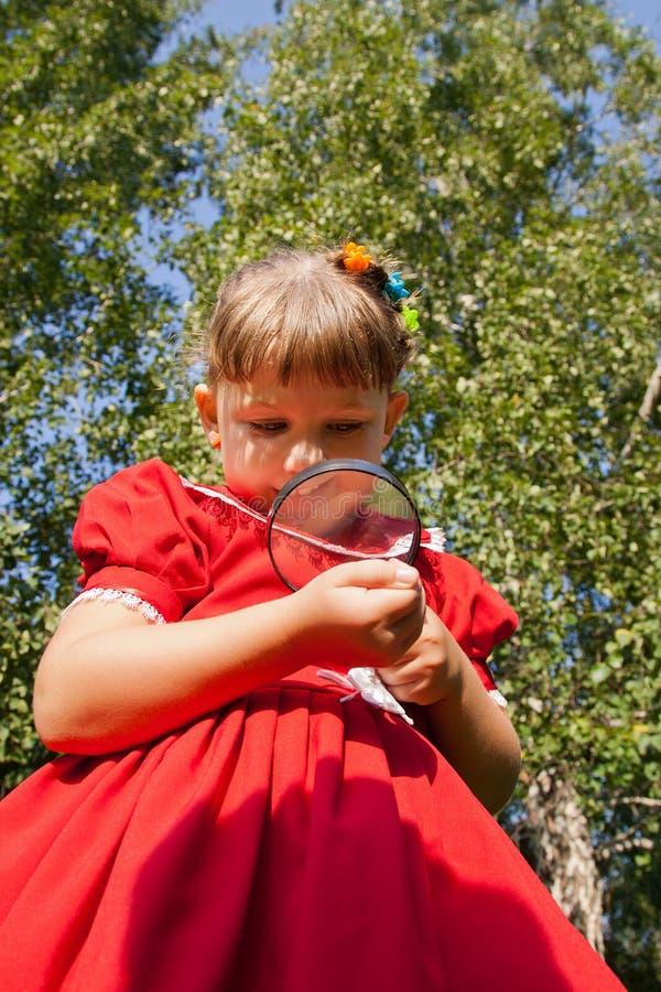 Meisje die door het magnifiying van glas gras bekijken stock afbeelding
