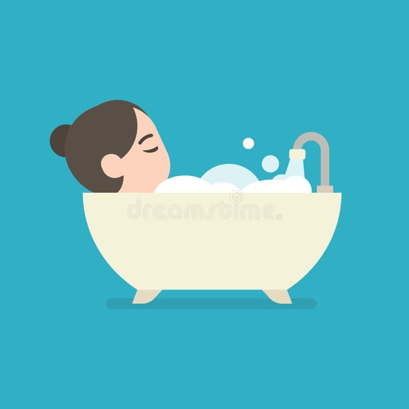 Meisje die een Bad in een Badkuip, leuk karakter, vectorillustra nemen royalty-vrije illustratie