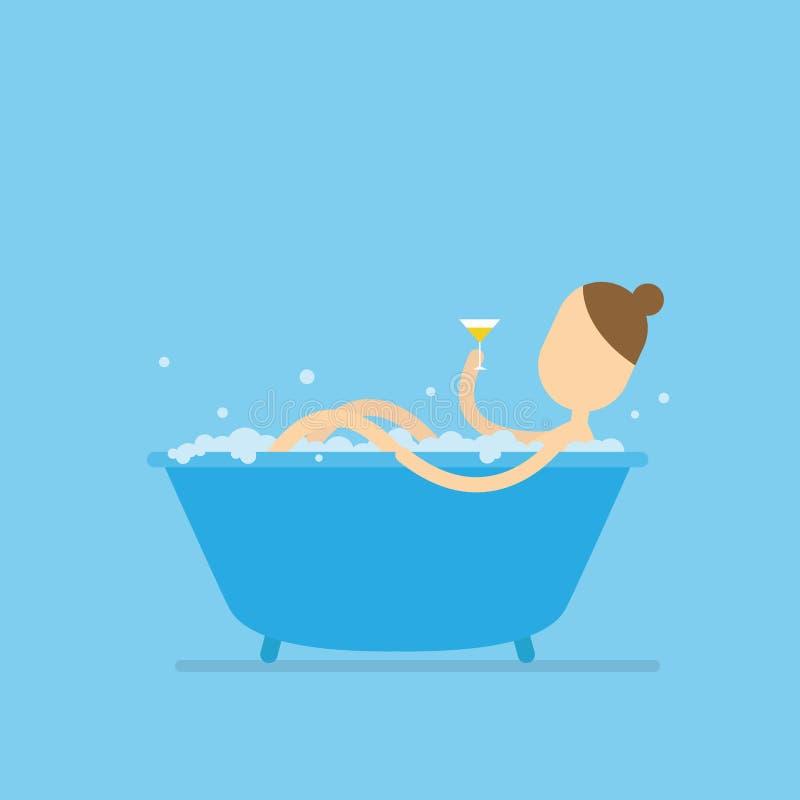 Meisje die een bad en handholdingsglas wijn nemen vector illustratie