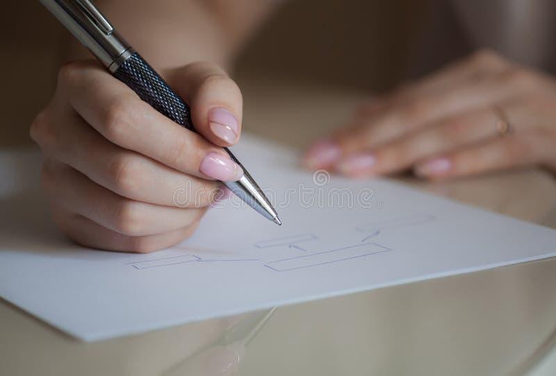 Meisje die een diagram schrijven stock foto's