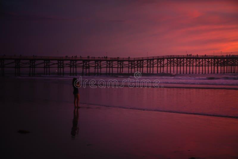 Meisje die een foto van de zonsondergang nemen stock foto's