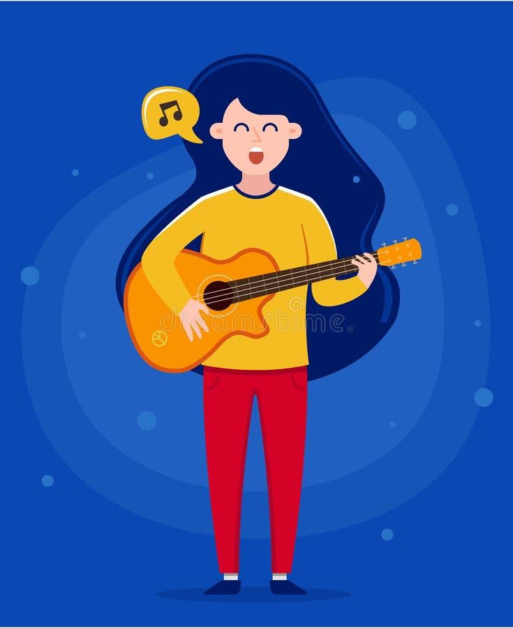 Meisje die een gitaar houden en een lied zingen 3d lijn, geeft terug karaktervector stock illustratie