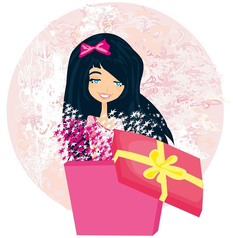 Meisje die een Kerstmis of verjaardagsgeschenkdoos openen vector illustratie