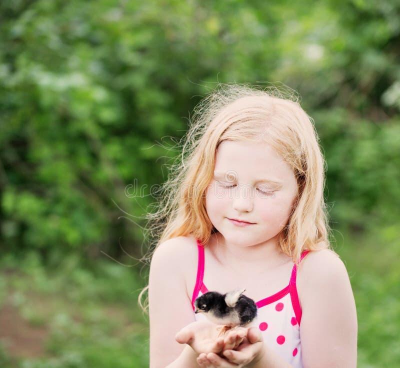 Meisje die een kip houden stock afbeelding