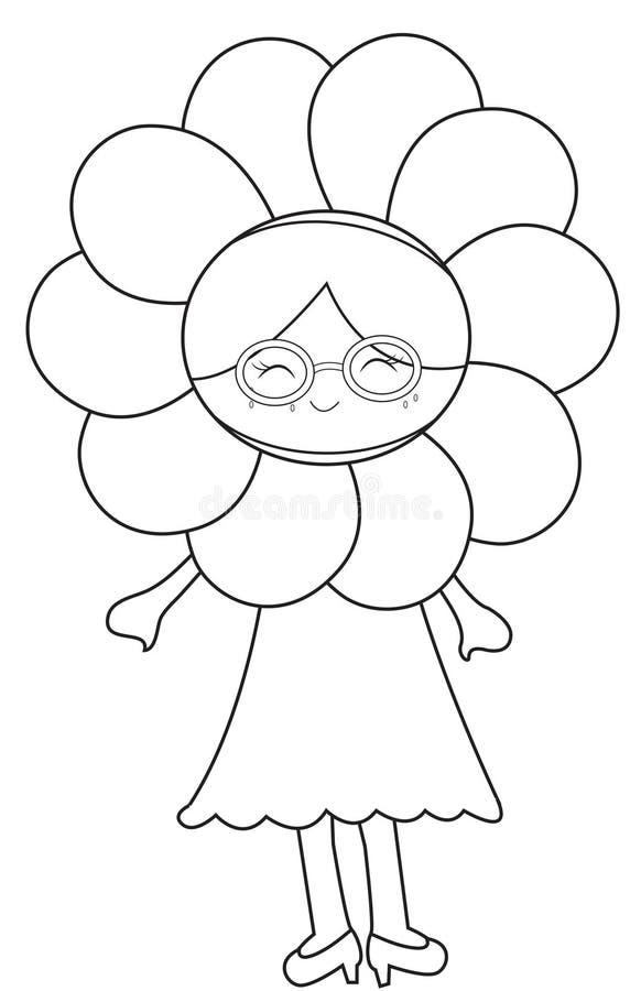 Meisje die een kleurende pagina van het bloemkostuum dragen vector illustratie