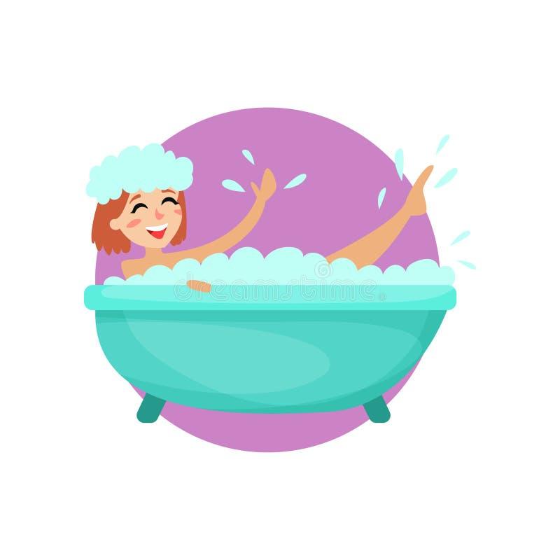 Meisje die een schuimbad in een uitstekende badkuip, vrouw nemen die voor zich, gezonde levensstijl vectorillustratie geven vector illustratie