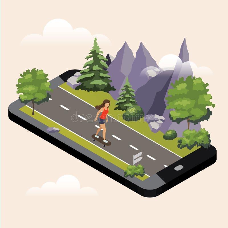 Meisje die een skateboard berijden op de de zonnige weg of weg van de plattelandszomer Isometrisch platteland Het mobiele geo vol vector illustratie