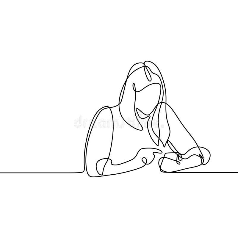 Meisje die en tekening van de smartphone de ononderbroken lijn spelen gebruiken Één lineart van vrouwen communicatie conceptenvec royalty-vrije illustratie