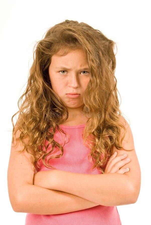 Meisje die Frustratie tonen royalty-vrije stock afbeelding
