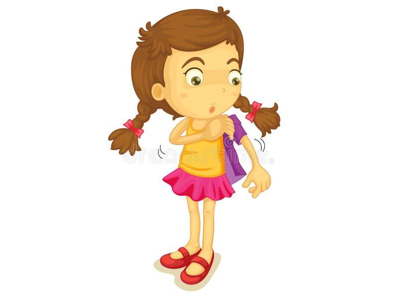 Meisje die gekleed worden stock illustratie