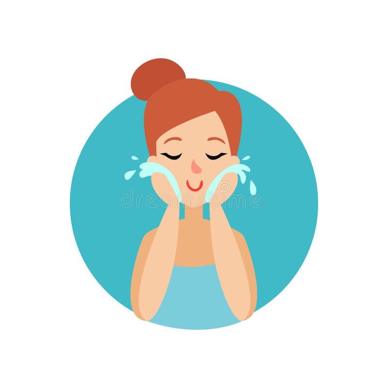 Meisje die haar gezicht met schuim, vrouw schoonmaken die voor zich, gezonde levensstijl vectorillustratie geven vector illustratie