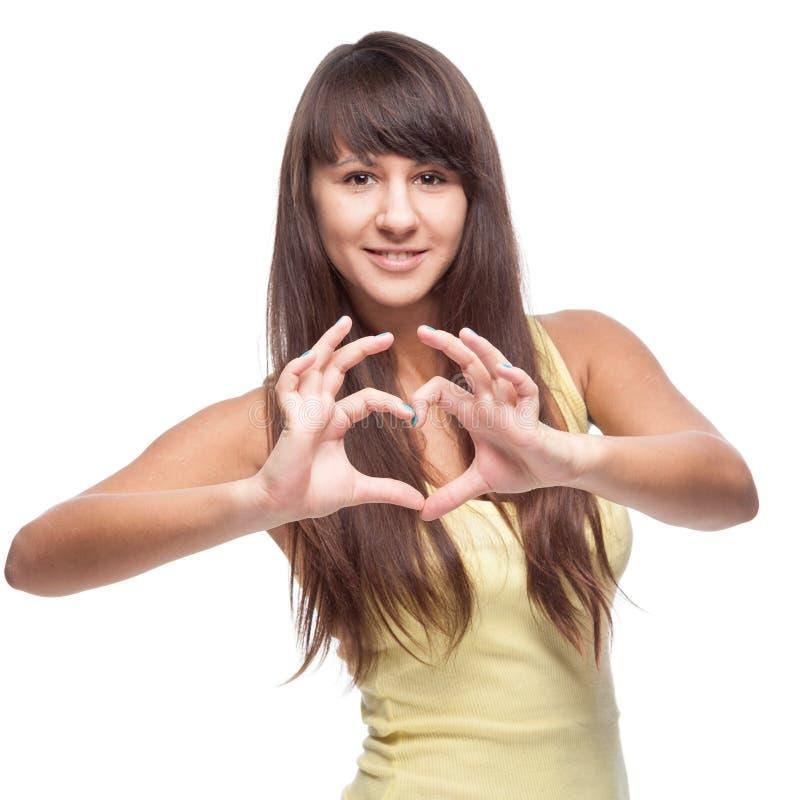 Meisje die hart tonen royalty-vrije stock foto