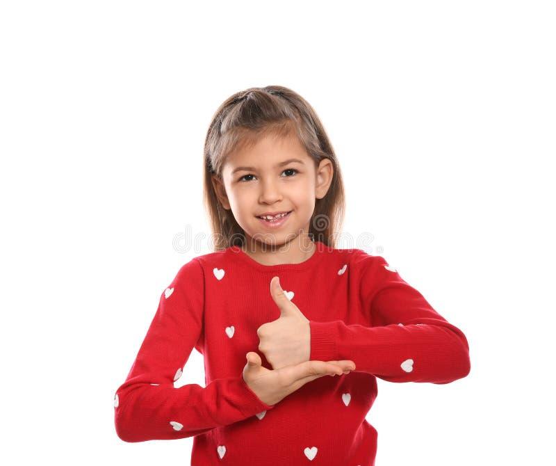 Meisje die HULPgebaar in gebarentaal op wit tonen royalty-vrije stock afbeeldingen