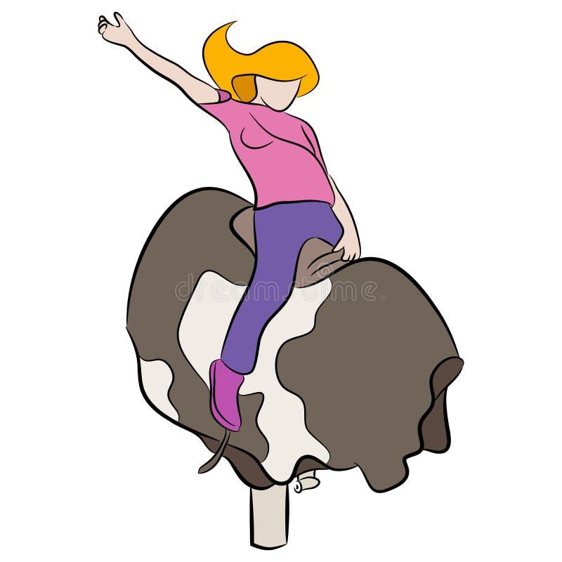 Meisje die Mechanisch Stierenbeeldverhaal berijden stock illustratie